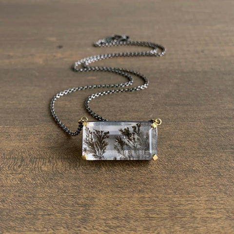 Mimi Favre Emerald Cut Dendritic Quartz Necklace