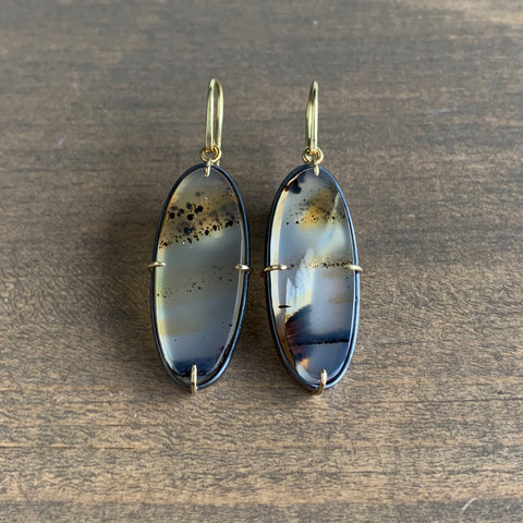 Mimi Favre Montana Agate Long Oval Earrings