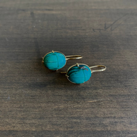 Mimi Favre Turquoise Scarab Drop Earrings