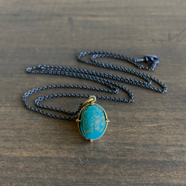 Mimi Favre Small Turquoise Scarab Pendant