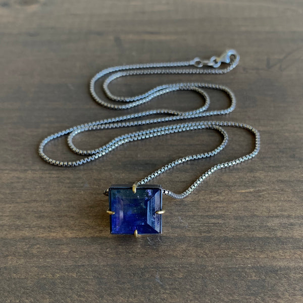 Mimi Favre Tanzanite Box Slide Pendant Necklace