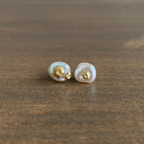 Hannah Blount Freshwater Pearl Studs with Gold Barnacles
