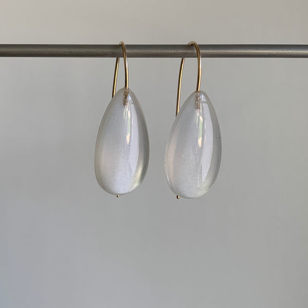 Large White Moonstone Teardrop Earrings
