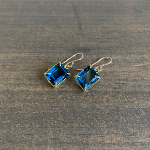 Rosanne Pugliese Emerald Cut London Blue Topaz Earrings