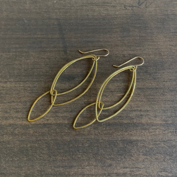 Rosanne Pugliese Gold Orchid Leaf Earrings