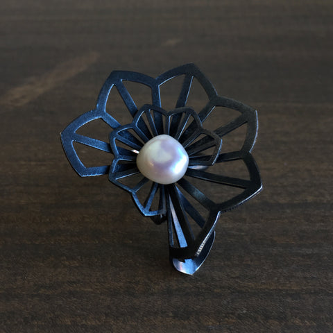 Karin Jacobson Double Hyacinth Fold Origami Ring with Pearl