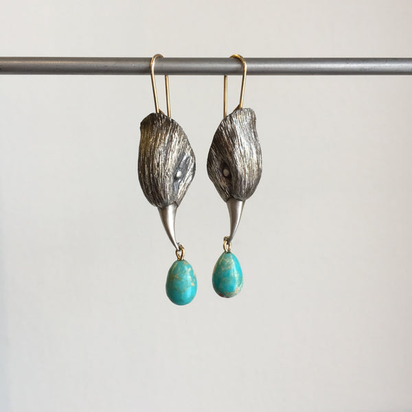 Gabriella Kiss Silver Bird Head with Turquoise Earrings