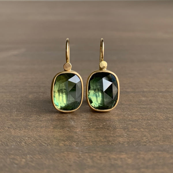 Lola Brooks Green Sapphire Cushion Drop Earrings