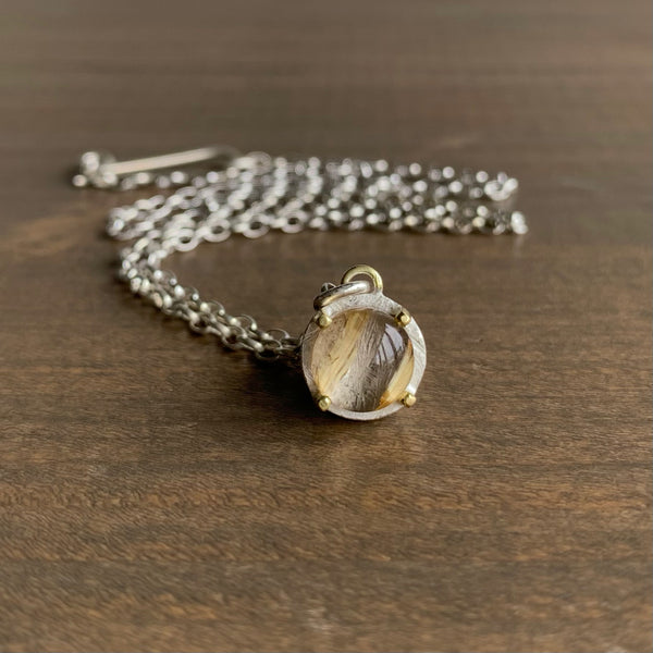 Heather Guidero Carved Prong Set Rutilated Quartz Necklace
