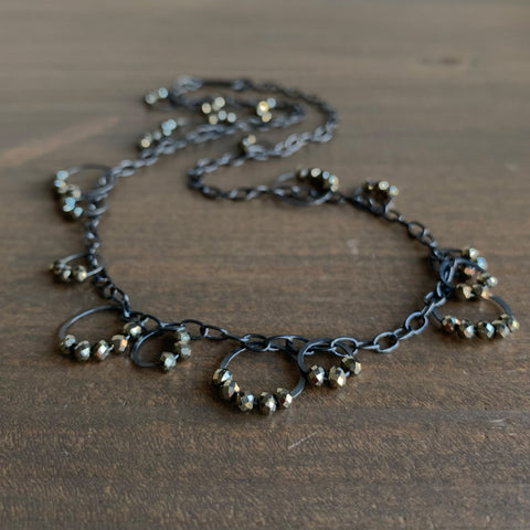 Heather Guidero Circle Bunches Necklace with Pyrite