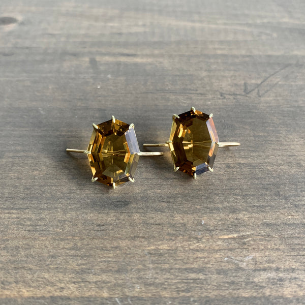Rosanne Pugliese Faceted Cinnamon Quartz Octagon Earrings