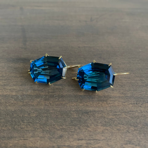 Rosanne Pugliese London Blue Topaz Faceted Octagon Earrings