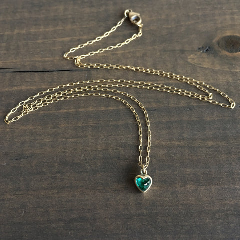 Lola Brooks Colombian Emerald Sweetheart Necklace