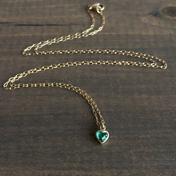 Lola Brooks Lighter Colombian Emerald Sweetheart Necklace