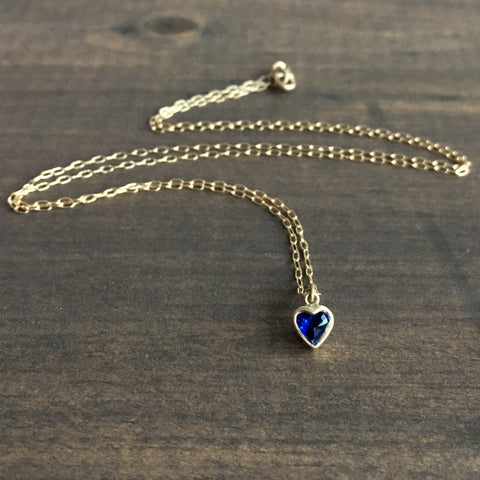 Lola Brooks Blue Sapphire Sweetheart Necklace