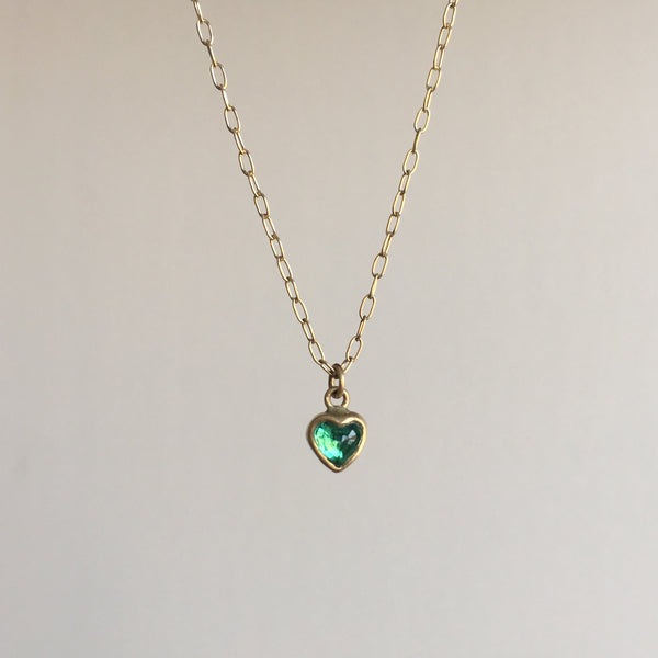 Lighter Colombian Emerald Sweetheart Necklace
