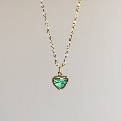 Large Emerald Sweetheart Necklace