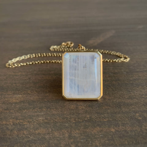 Lola Brooks Emerald Cut Rainbow Moonstone Pendant