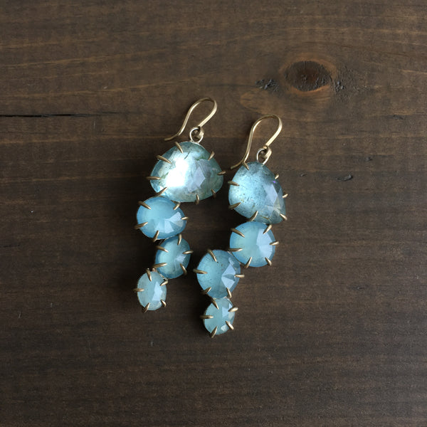 Hannah Blount Medusa Jellyfish Aquamarine Vanity Earrings