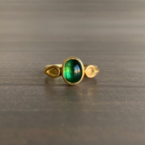 Monica Marcella Deep Green Tourmaline Ring With Flames