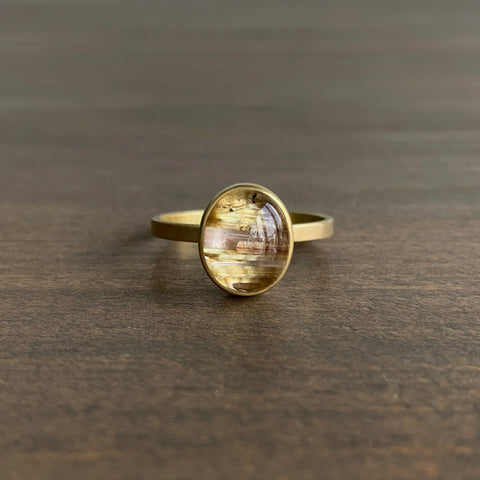Monika Krol Rutilated Quartz Cabochon Stacking Ring