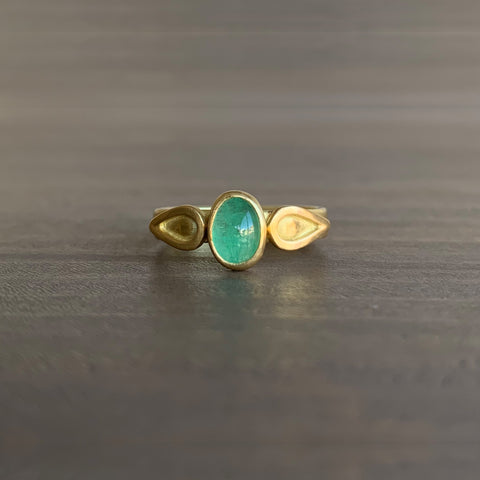 Monica Marcella Emerald Oval Ring with Flames