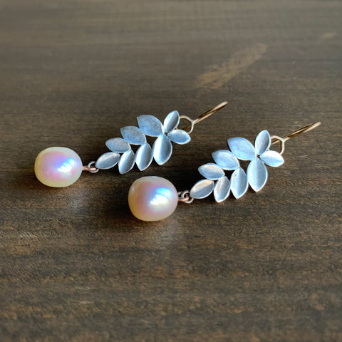 Katie Carder Leaf Dangles with Freshwater Pearl Drops