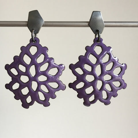 Joanna Nealey Wide Structure Earrings in Iris Purple