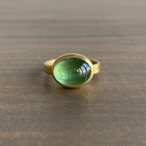 Monica Marcella Grass Green Tourmaline Oval Landscape Ring