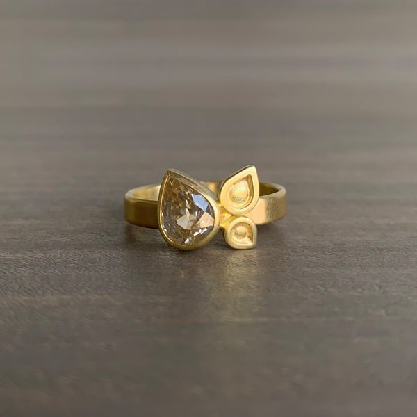Monica Marcella Champagne Zircon Ring with Leaves