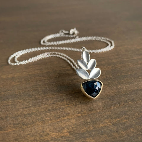 Katie Carder Triangle Sapphire Leaf Necklace