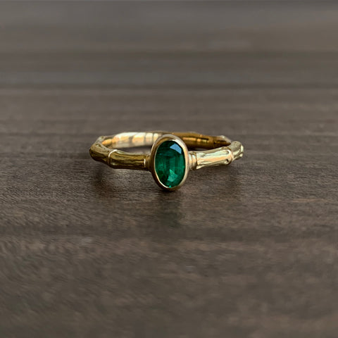 Mimi Favre Emerald Bamboo Ring