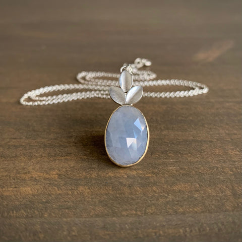 Katie Carder Oval Sapphire Leaf Necklace
