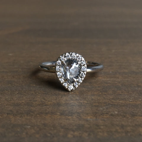 Point No Point Grey Pear Halo Diamond Engagement Ring