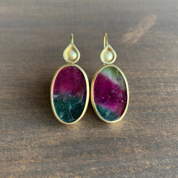 Monica Marcella Watermelon Tourmaline Earrings with Lagrimas