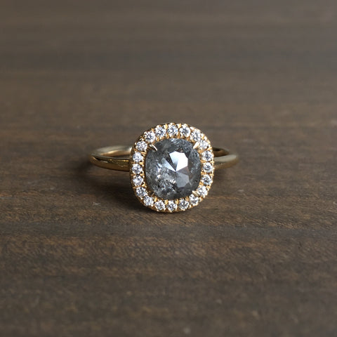 Point No Point Light Grey Diamond Halo Engagement Ring