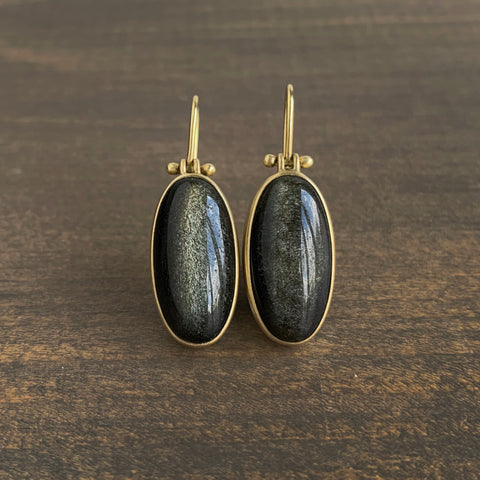 Monika Krol Black Obsidian Ellipse Earrings