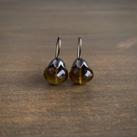 Mimi Favre Smoky Olive Quartz Morning Glory Pod Earrings
