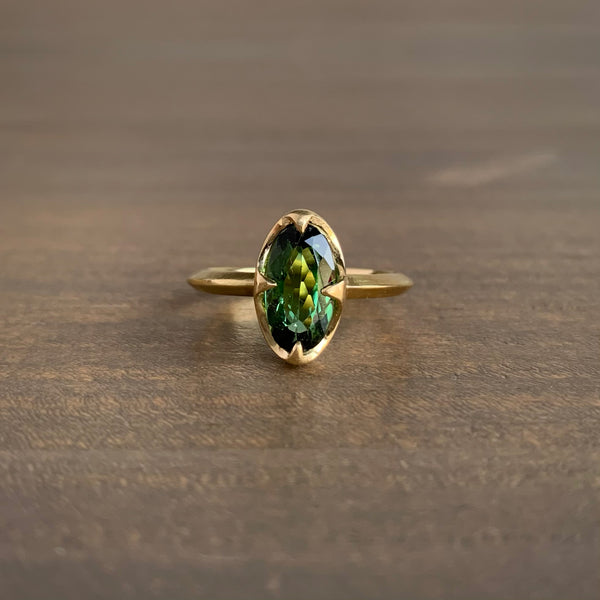 Mimi Favre Long Oval Green Tourmaline Claw Ring