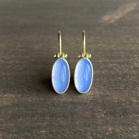 Monika Krol Blue Chalcedony Slender Oval Earrings