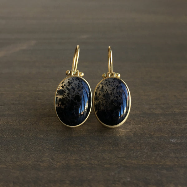 Monika Krol Ombre Speckled Montana Agate Earrings