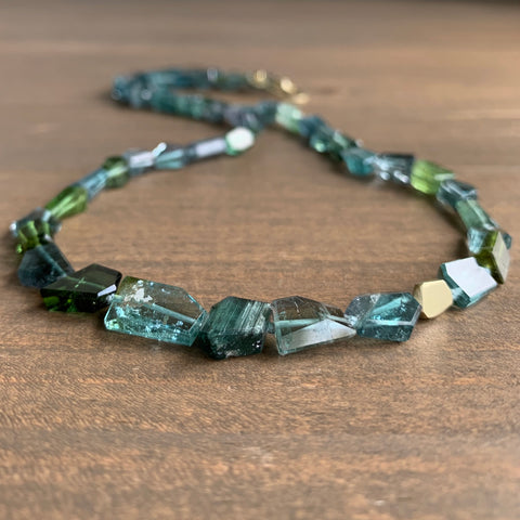 Judi Powers Blue & Green Tourmaline Geometric Necklace