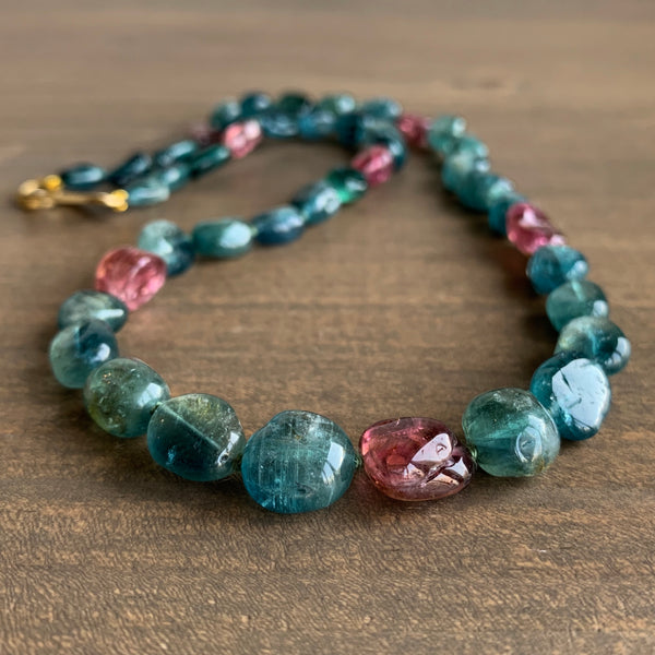 Judi Powers Indicolite & Pink Tourmaline Pebble Necklace