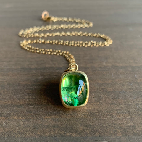 Monica Marcella Grass Green Tourmaline Cushion Necklace