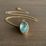 Monica Marcella Aquamarine Ocean Oval Necklace