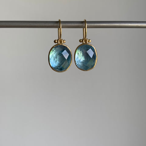 Monika Krol Faceted Oval Aquamarine Earrings