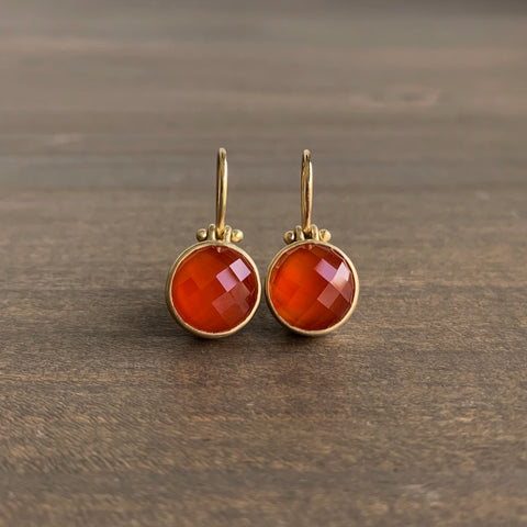 Monika Krol Round Faceted Carnelian Earrings