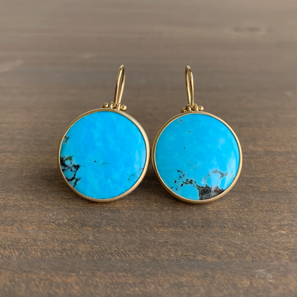 Monika Krol Round Kingman Spiderweb Turquoise Earrings