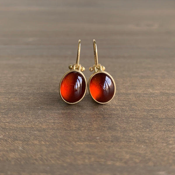 Monika Krol Oval Garnet Cabochon Earrings