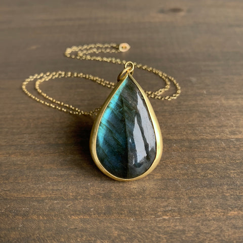 Monica Marcella Labradorite Pear Necklace
